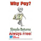 Indoor Sign - Why Pay? Simple Returns Always Free!